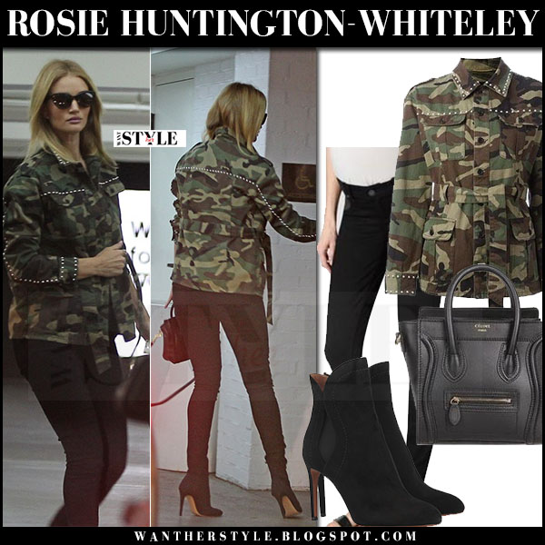 Rosie Huntington-Whiteley in green camo print jacket saint laurent and black skinny jeans paige denim maternity what she wore