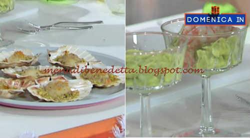Domenica In - Capesante gratinate e cocktail di avocado e gamberi ricetta Benedetta Parodi