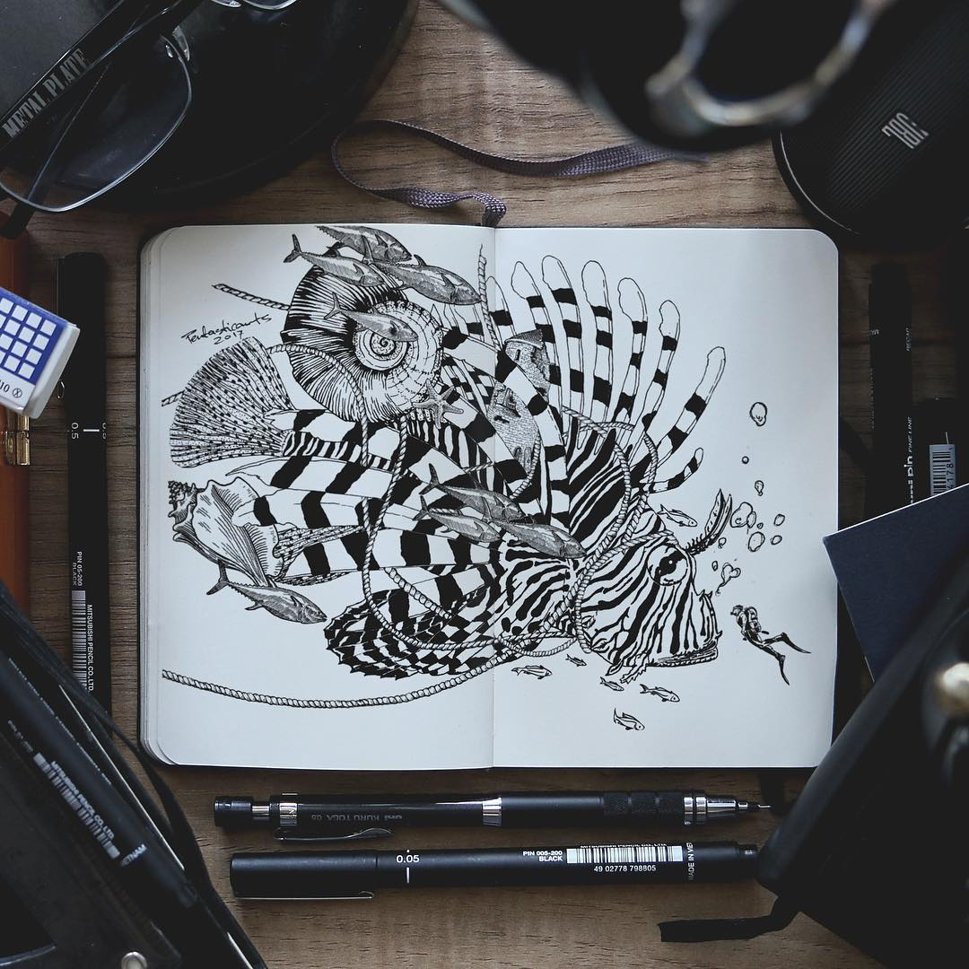 03-Fish-Joseph-Catimbang-Doodle-Drawings-make-the-World-go-Round-www-designstack-co