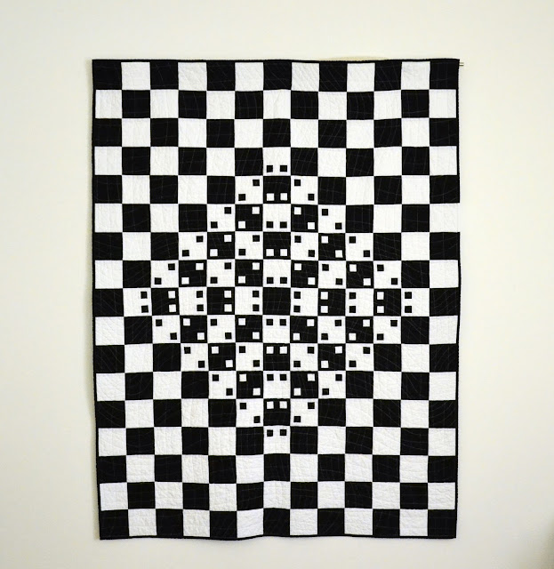 black & white quilt, optical illusion