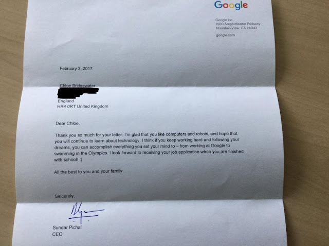 This Seven-Year-Old Girl Sent a Letter To Google Asking for Job and Recieved a Personal Reply from CEO Pichai!