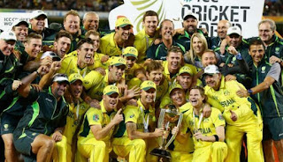 ICC Cricket World Cup 2015 Winner Australia with full squad holding the World cup trophy.