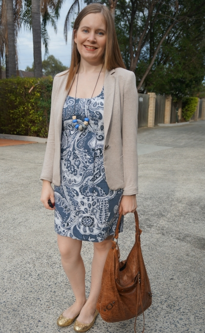 cream jersey blazer, brown hobo bag, blue paisley print sheath dress for the office gold mouse flats | away from Blue