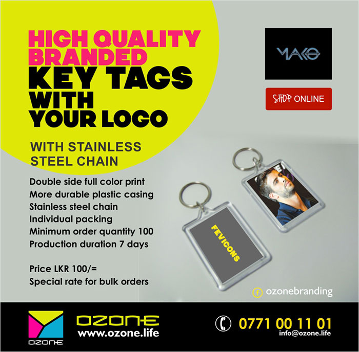 Double side full color print More durable plastic casing Stainless steel chain Individual packing Minimum order quantity 100 Production duration 7 days  Price LKR 100/= Special rate for bulk orders  Low priced unbranded key tags also available.