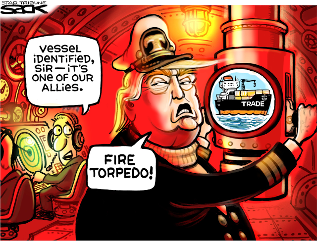Donald Trump as submarine captain looking through periscope.  He sees a ship labeled