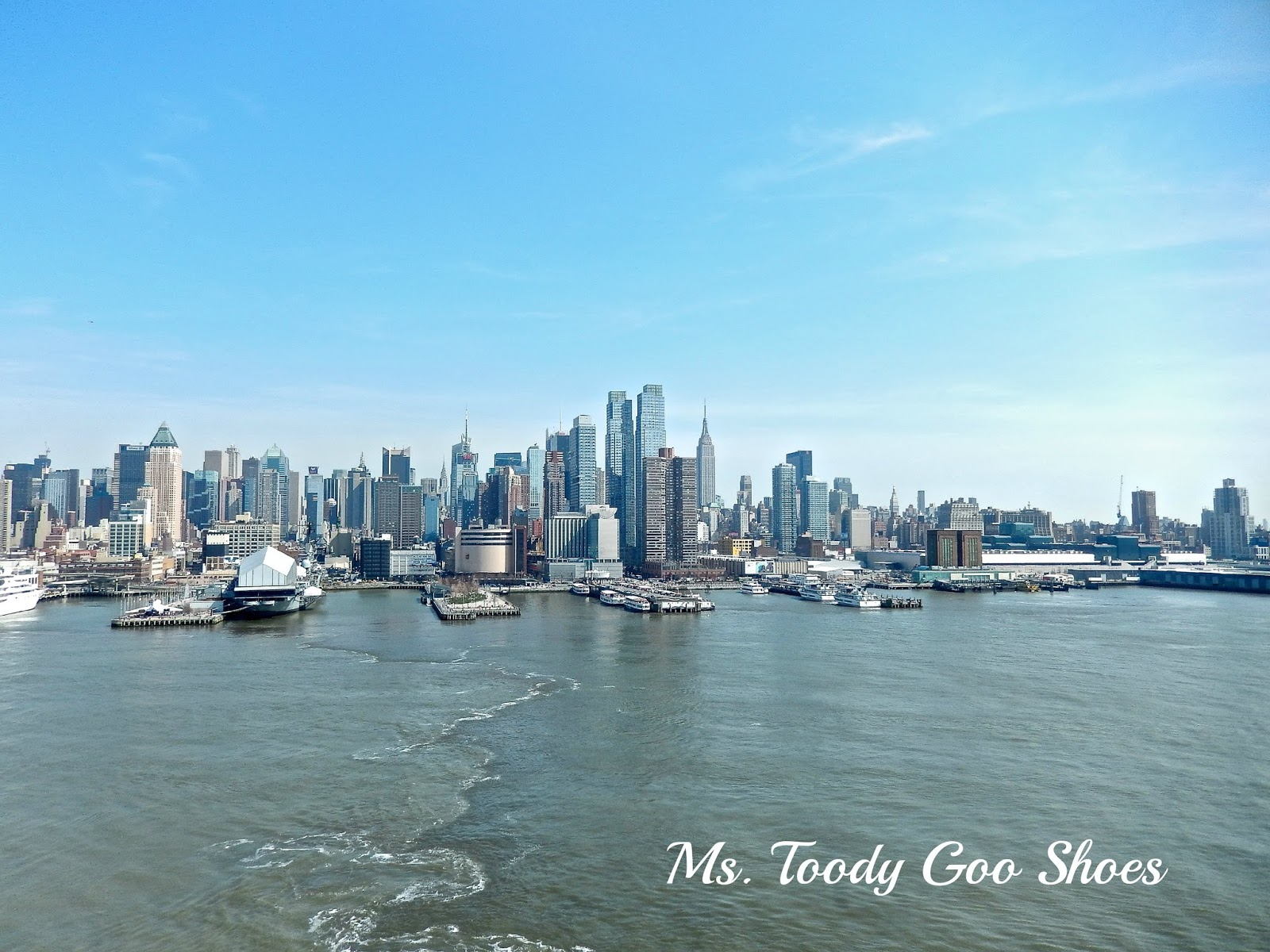 NYC Skyline from Norwegian Breakaway Cruise Ship  --- Ms. Toody Goo Shoes