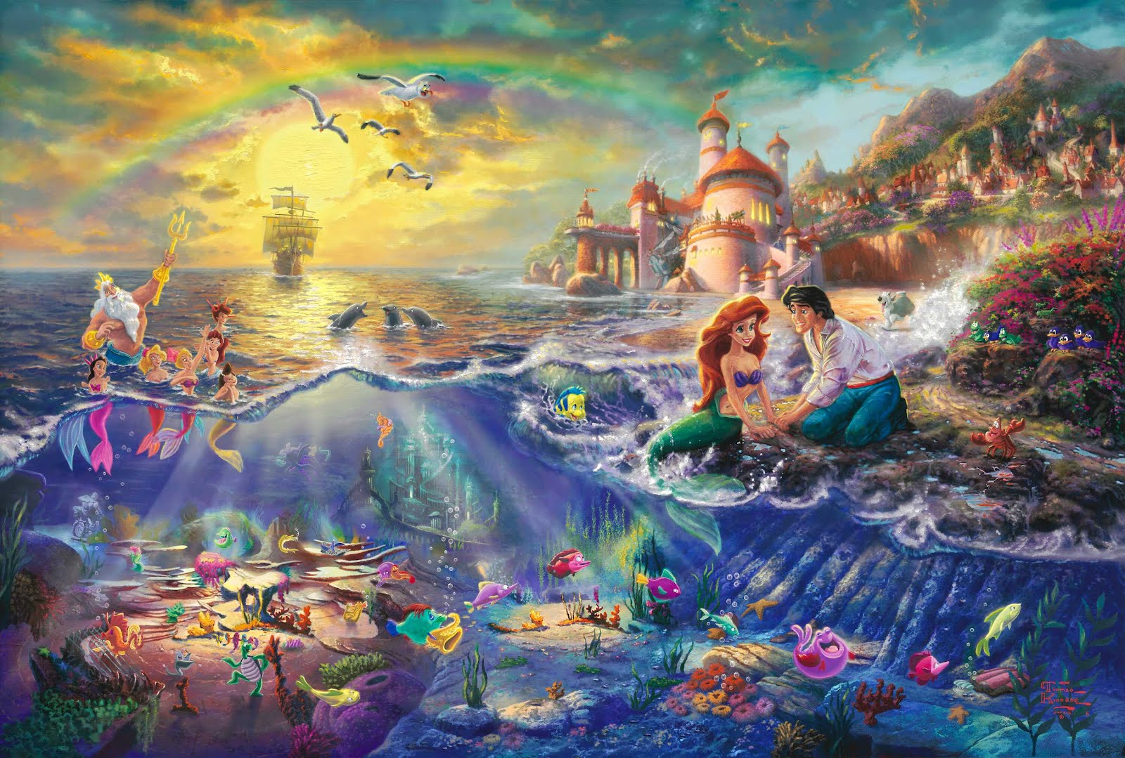enzo+the+little+mermaid+2012+1990+1989+eric+prince+principe+princess+princesas+sebastian+flounder+king+triton+rey+hermanas+sisters+max+ursula The Disney Paintings of Thomas Kinkade (1958 2012)