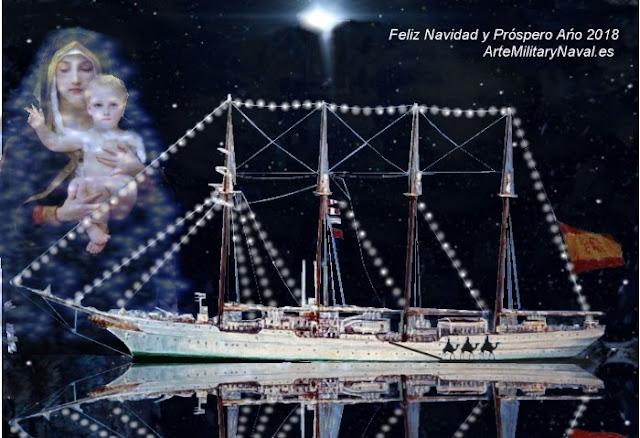 Tarjeta de navidad con el Juan Sebastián Elcano