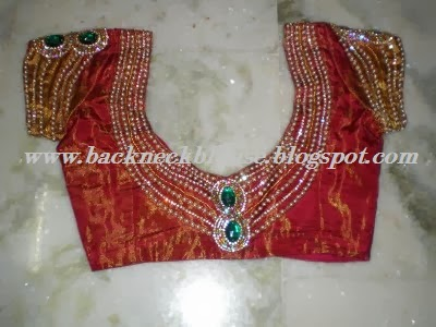 red colour stone work designer back blouse