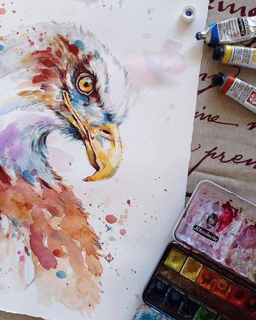 06-Focused-Bald-Eagle-Sally-Walsh-sillierthansally-Watercolour-Portraits-Paintings-of-Wildlife-www-designstack-co