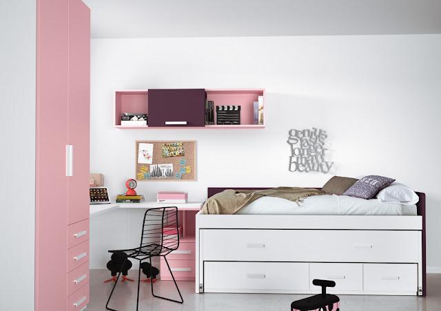 Habitación para niña en colores rosa y blanco