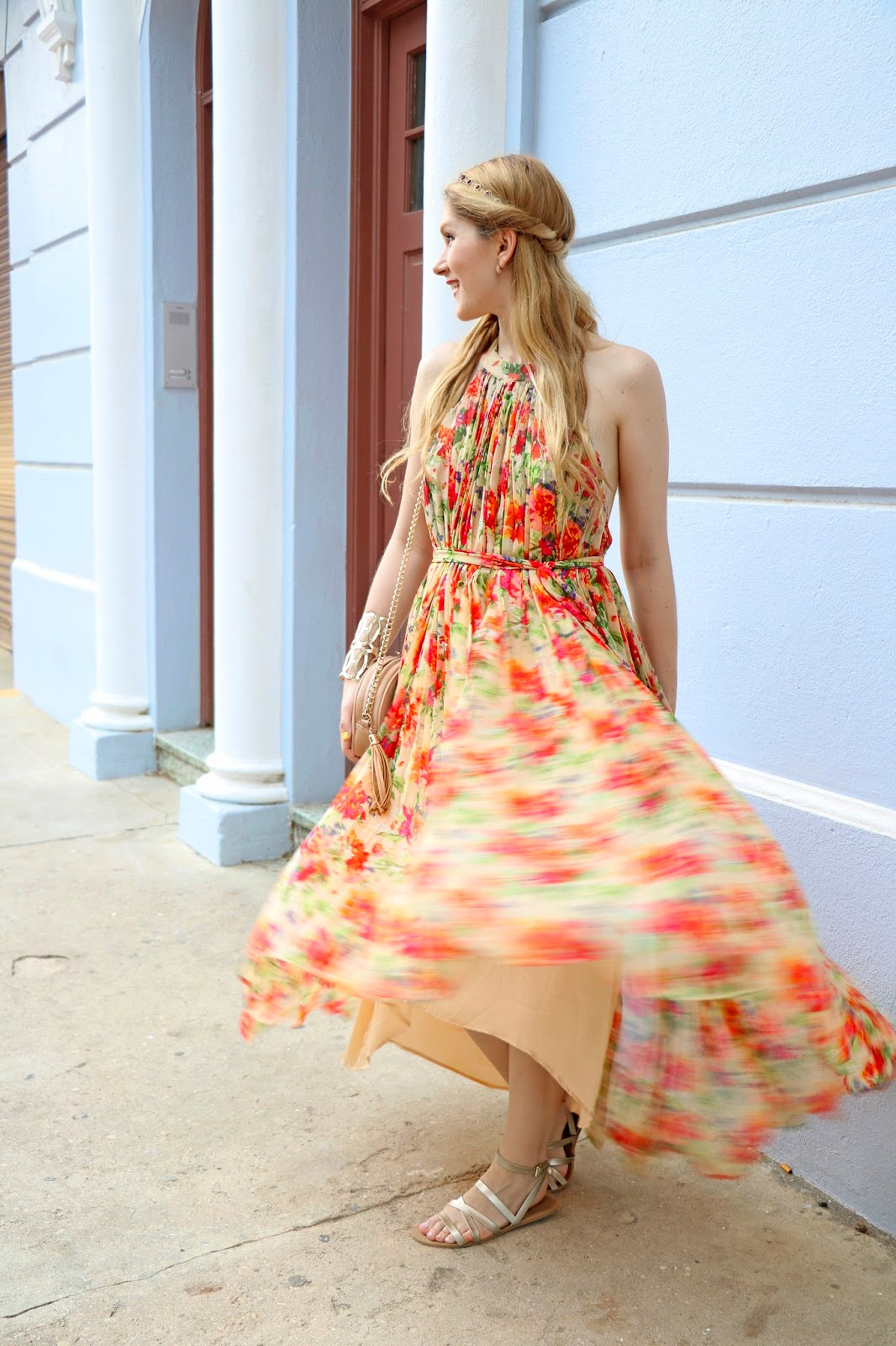 Pair a breezy floral maxi dress with comfy sandals for a cute Brunch outfit!