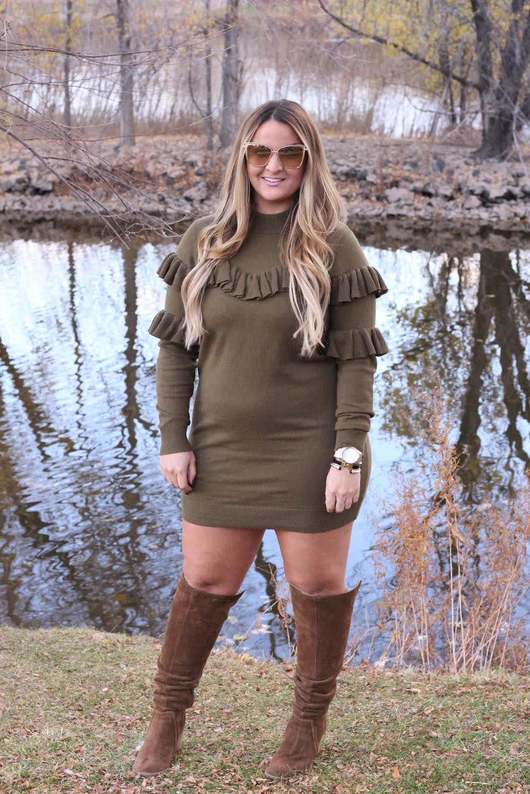 Green Sweater Dress for the Holidays by Denver fashion blogger Delayna Denaye