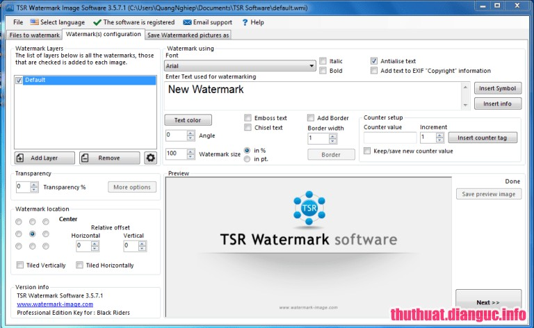 tie-mediumDownload TSR Watermark Image Pro 3.5.9.3 Full Cr@ck + Portable – Phần mềm đóng dấu bản quyền hình ảnh