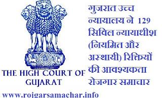 गुजरात उच्च न्यायालय में 129 सिविल न्यायाधीश रिक्तियों की आवश्यकता रोजगार समाचार