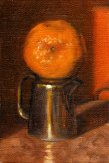 Oil painting of a mandarine balanced on top of a small silver jug.
