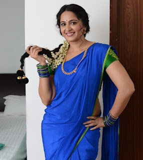 Anushka Shetty New Pos In Blue Saree (1)