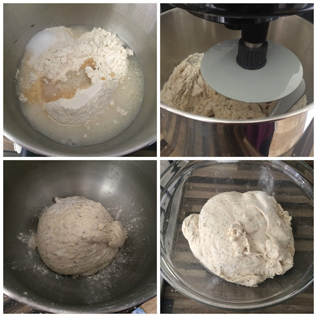 Photos of the steps for making the Fougasse dough