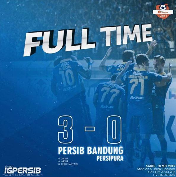 Hasil Pertandingan Persib Bandung Vs Persipura Jayapura di Liga 1 2019