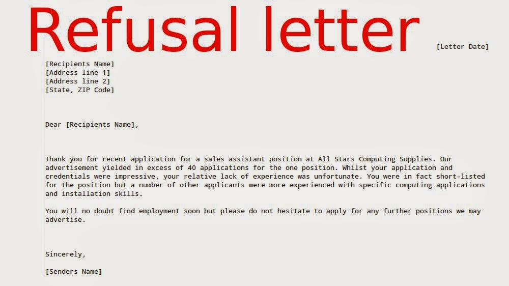 How to write a request refusal letter