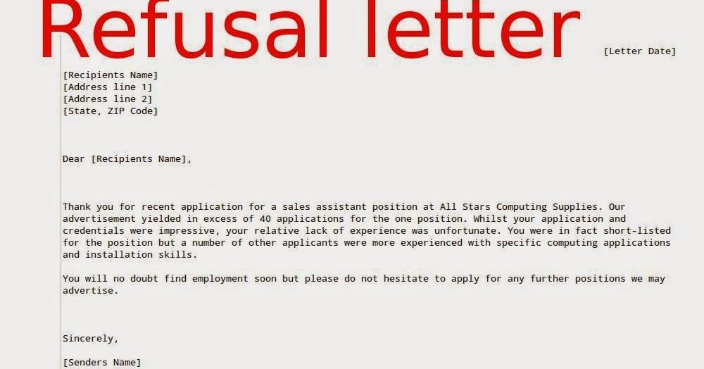 Job Refusal Letter Sample Samples Business Letters