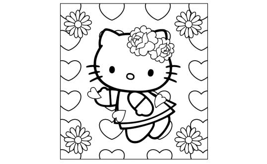 a desenhar hello kitty com flores colorir