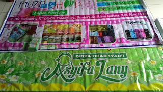 Spanduk Asyifa Lany, spanduk dan member card Muza shop assalaampro.com