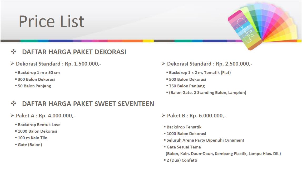 Price List daftar Harga Paket Dekorasi ulang tahun Sweet seventeen (17 Tahun)