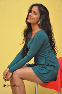 Telugu Actress Prasanthi Stills in Green Short Dress at Swachh Hyderabad Cricket Press Meet  0068.JPG