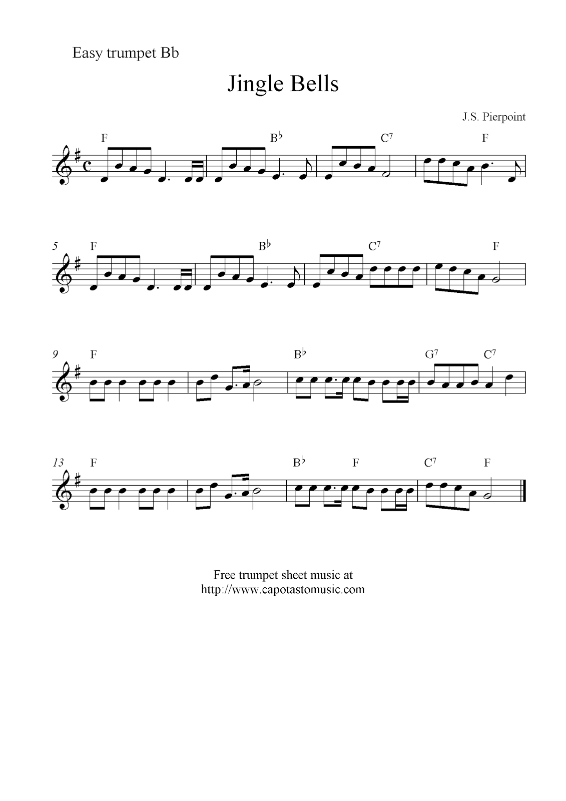 Jingle bells free christmas trumpet sheet music notes