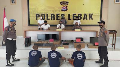 Tiga Pelaku Pencurian 29 Komputer di SMAN 1 Cihara ditangkap Sat Reskrim Polres Lebak