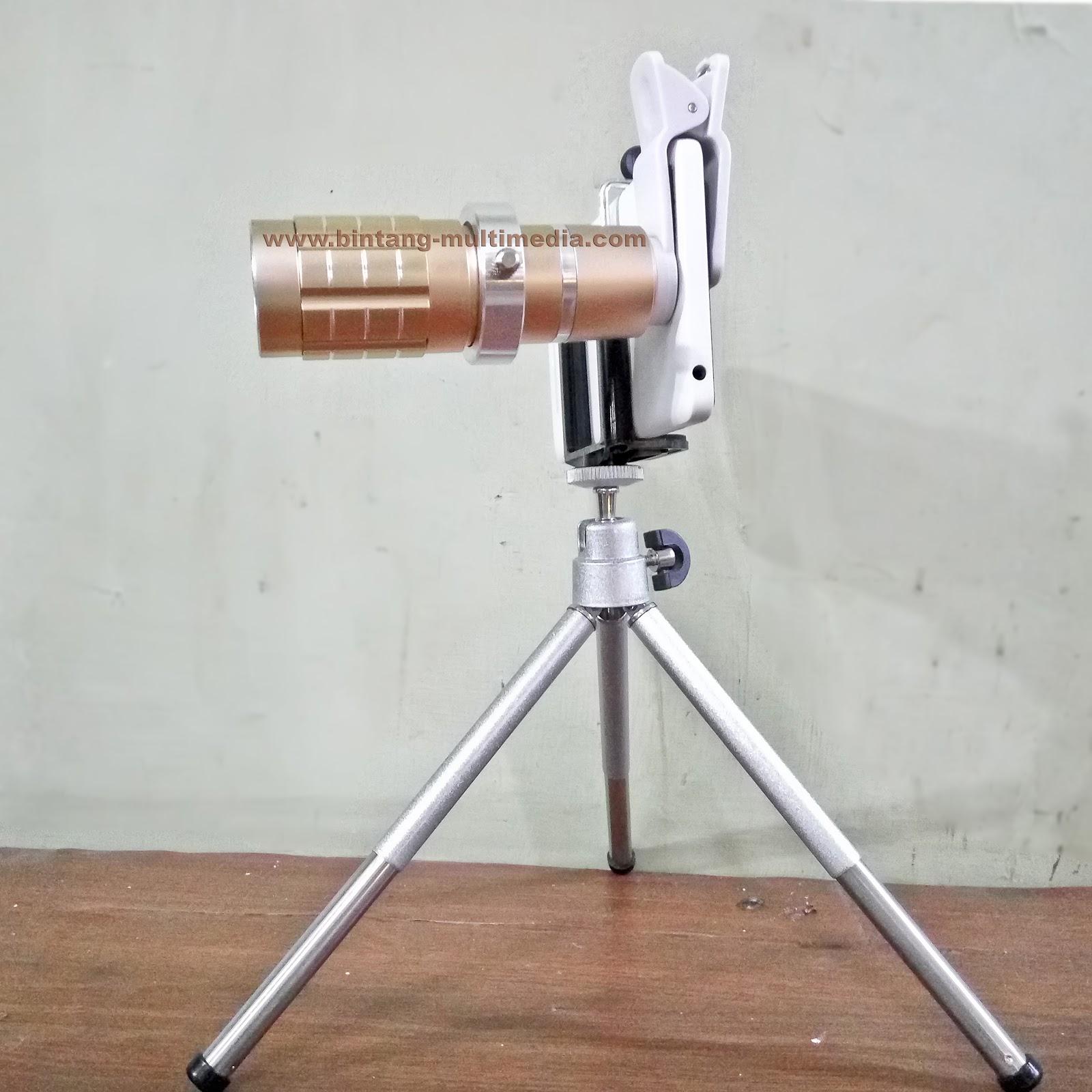 Harga Jual Lensa Telezoom 12x Tele Zoom Telescope Universal Hp Jepit Handphone Plus Mini Tripod