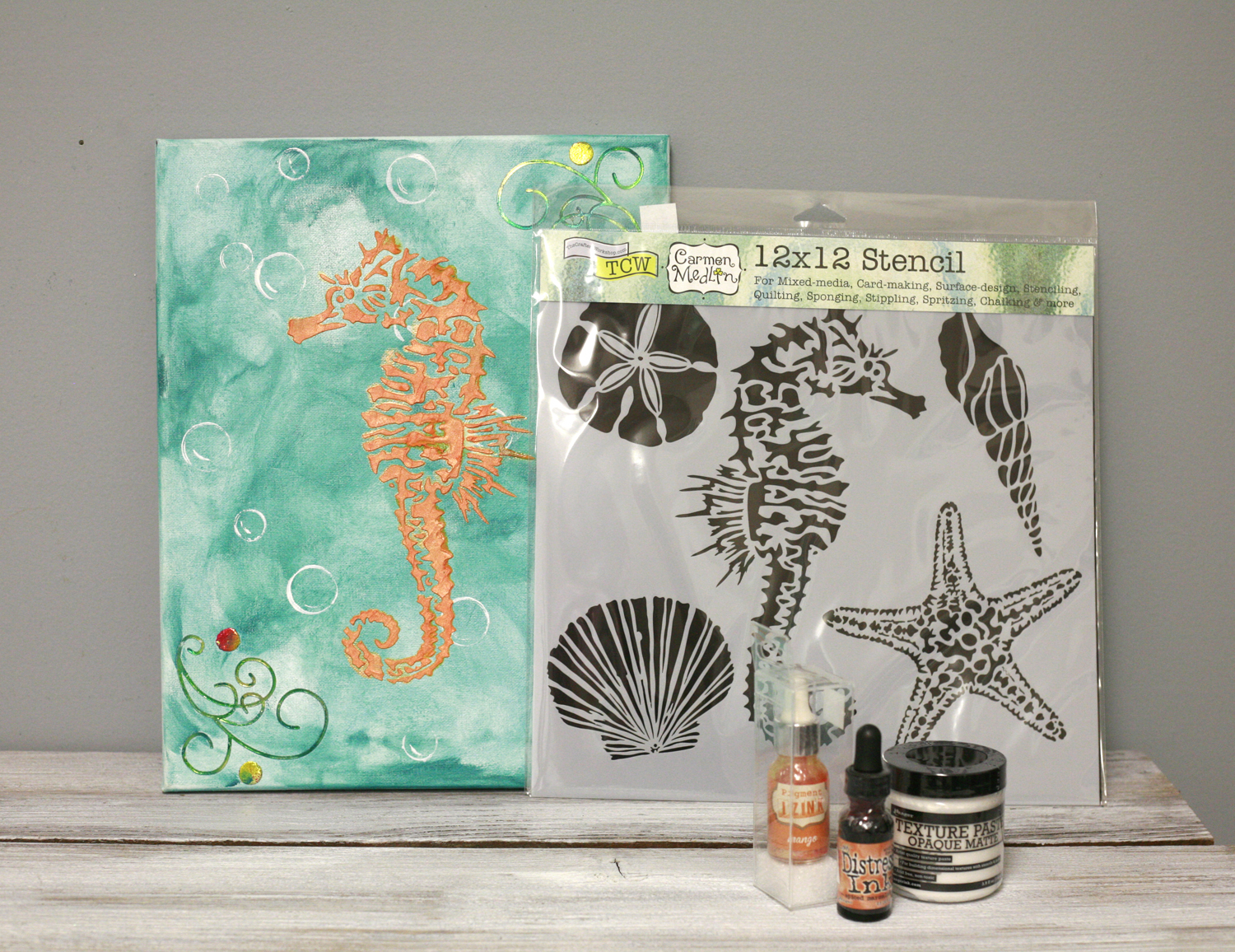 Ben franklin crafts and frame shop diy seahorse wall art for Canvas painting supplies