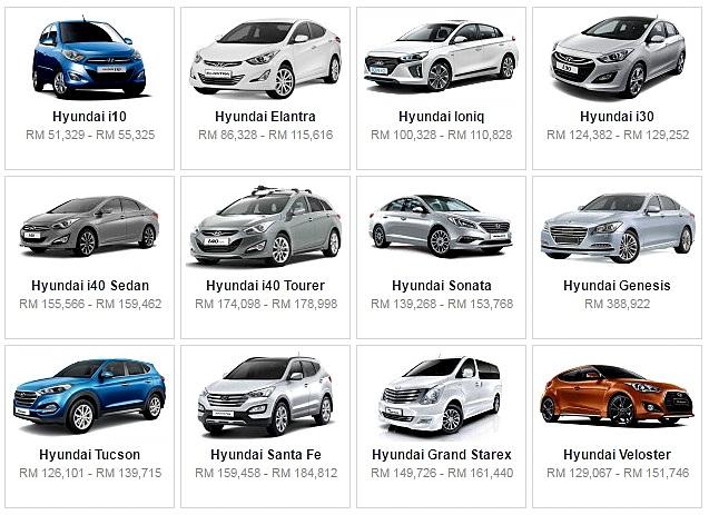 Senarai Harga Terkini Kenderaan Hyundai Baru Di Malaysia
