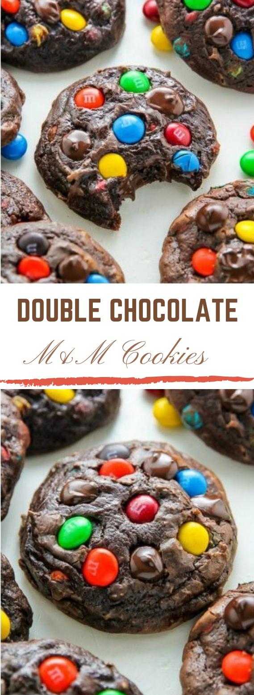 Soft Batch Chocolate M&M Cookies #dessert #cookies