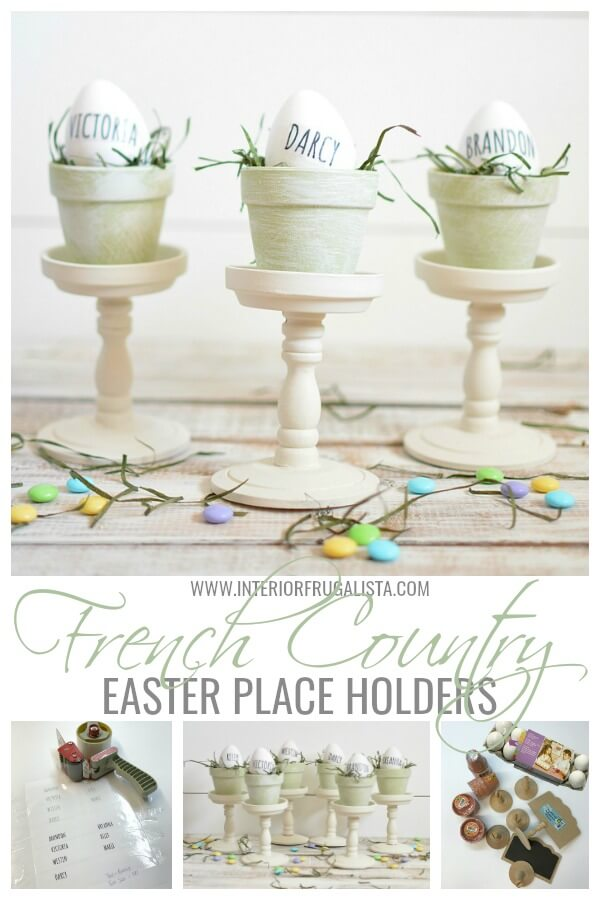 Gorgeous budget-friendly Rae Dunn inspired Easter egg place card holders with French Country style with repurposed dollar store mini terracotta pots. #easterplacecardholders #raedunninspired