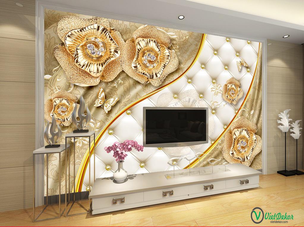 Tranh dán tường 3d hoa bướm trang trí phòng ngủ đẹp