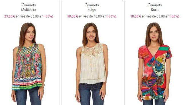 camisetas coloridas mujer