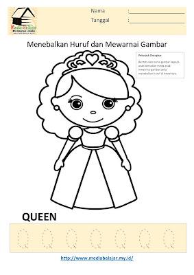 Lembar Kerja Paud Menebalkan Huruf Q dan Mewarnai Gambar Queen
