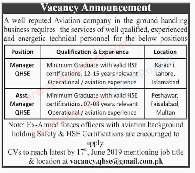 ➨ #Jobs - #Career_Opportunities - #Jobs - in a Well Known Aviation Company - Last date is 17 June 19