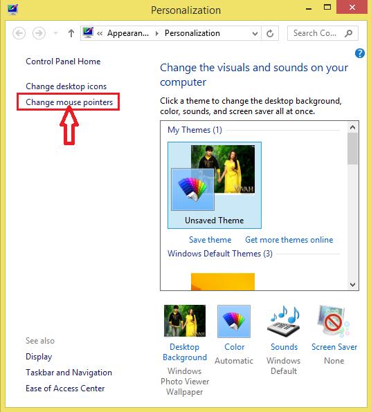 change mouse pointer par click kare