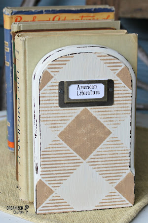 Upcycled Bookends with Paint, Stencil and Label