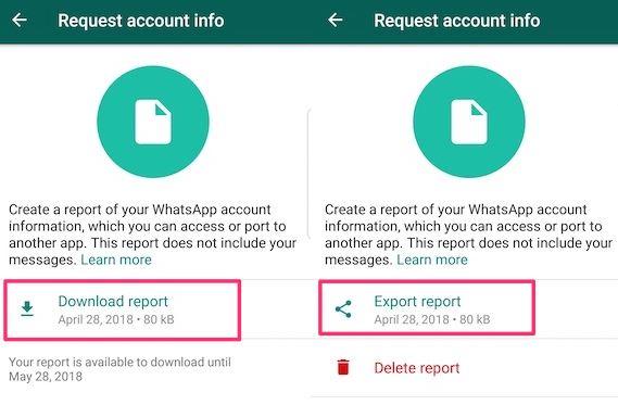 Cara export Informasi Data Akun WhatsApp