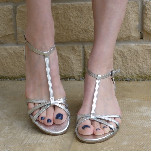 Silver leather low wedge sandals