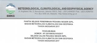 Penerimaan CPNS Terbaru Badan Meteorologi,Klimatologi & Geofisika