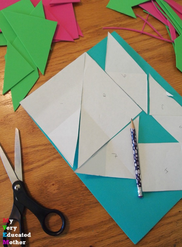 Once you have your template cut out your foam tangrams.