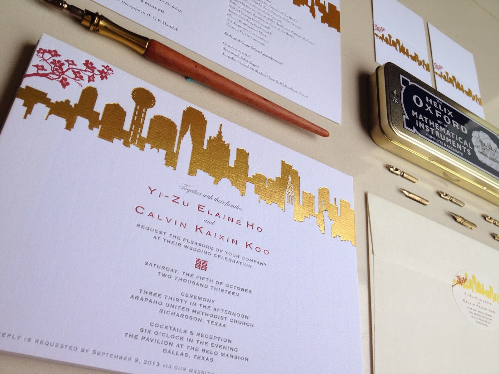 Skyline Lover New York And Dallas For Hong Kong In House Wedding Invitation Design