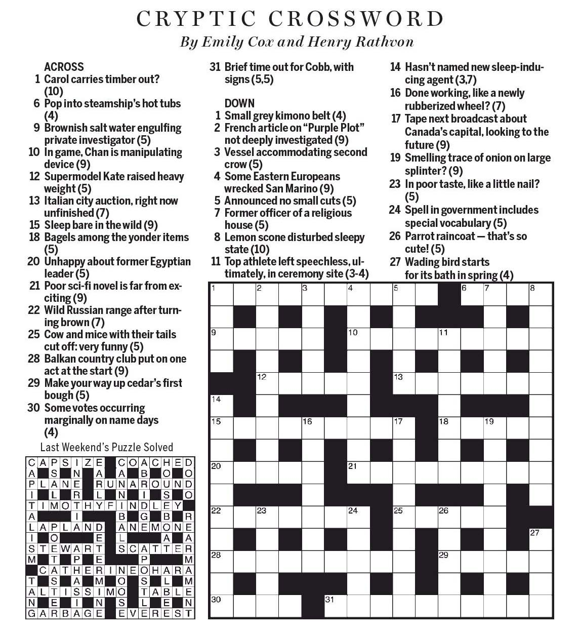 National Post Cryptic Crossword Forum Saturday August 26 2017