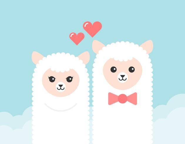 Valentine's Day Free Cartoon Alpaca Couple Vector