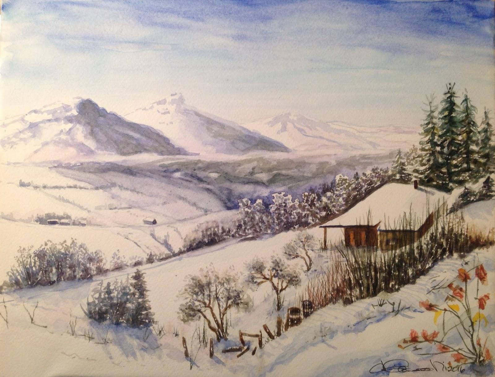 Lezione paesaggio invernale la maiella ciam for Disegni paesaggio invernale